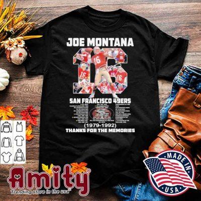 Joe Montana San Francisco 49ers 1979 1992 signatures thank you for the memories shirt
