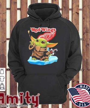 Baby Yoda Hockey red Wings 2021 hoodie
