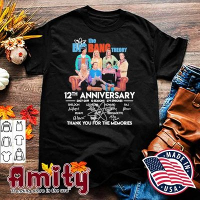 The Big Bang theory 12th anniversary signatures thank you for the memories shirt