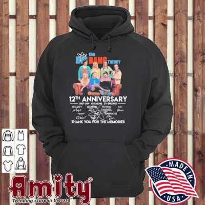 The Big Bang theory 12th anniversary signatures thank you for the memories hoodie
