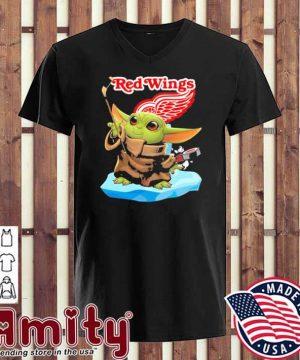 Baby Yoda Hockey red Wings 2021 v-neck