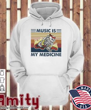 Skeleton play Music Is my medicine vintage hoodie