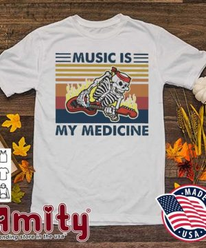Skeleton play Music Is my medicine vintage shirt
