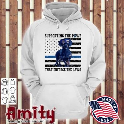 Dachshund supporting the Paws that enforce the laws American flag hoodie