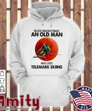 Never underestimate an old man who loves Telemark Skiing hoodie
