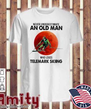 Never underestimate an old man who loves Telemark Skiing v-neck