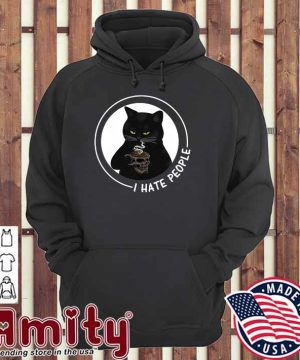 Official Black Cat Skull Glasses Coffee I Hate People Shirt hoodie