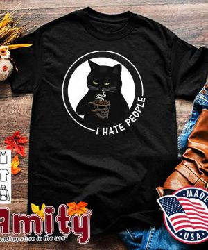 Official Black Cat Skull Glasses Coffee I Hate People Shirt