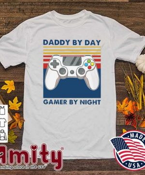 Official Daddy By Day Gamer By Night Vintage Retro Shirt