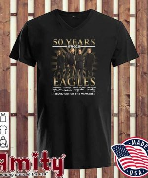 50 Years 1971 - 2021 Eagles Glenn Frey Signatures Thank You For The Memories Shirt v-neck