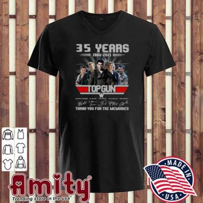 35 Years 1986 - 2021 Top Gun Anthony Edwards Val Kilmer Tom Cruise Signatures Thank You For The Memories Shirt v-neck
