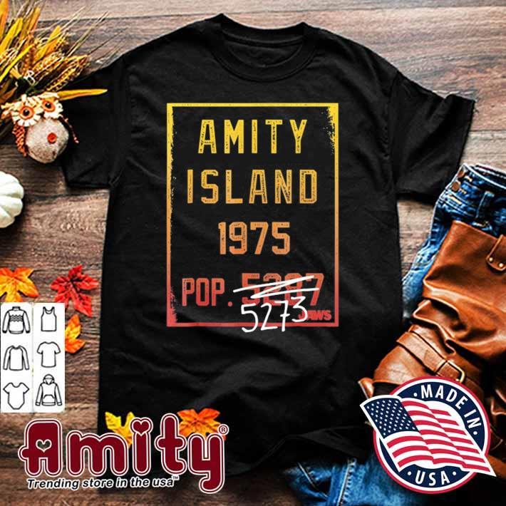 Jaws amity island 1975 population graphic shirt