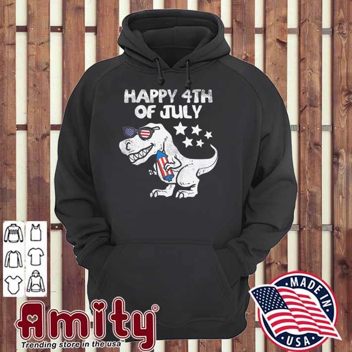 Kids happy 4th of july boys toddler trex dinosaur American dino hoodie