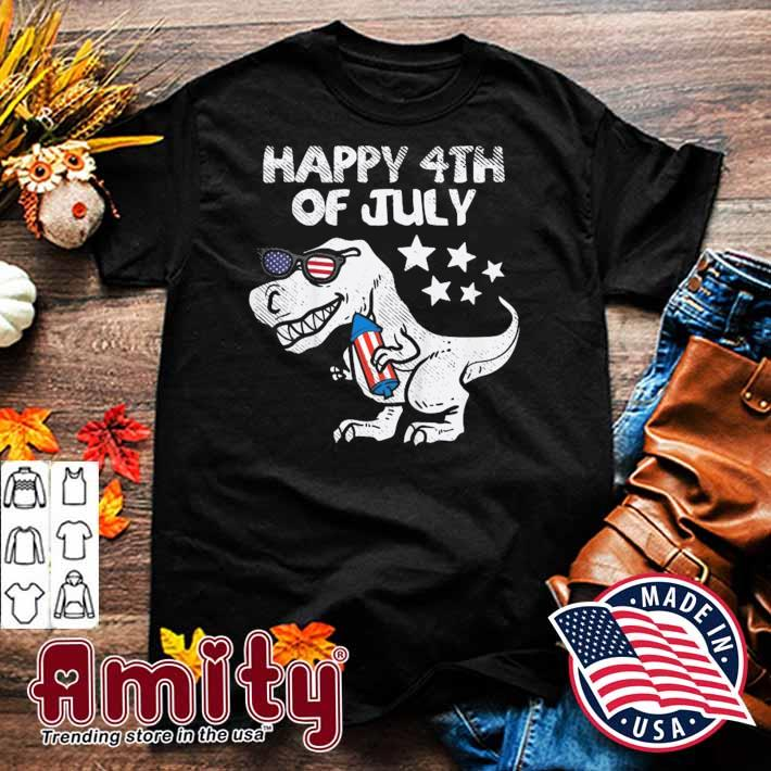 Kids happy 4th of july boys toddler trex dinosaur American dino shirt