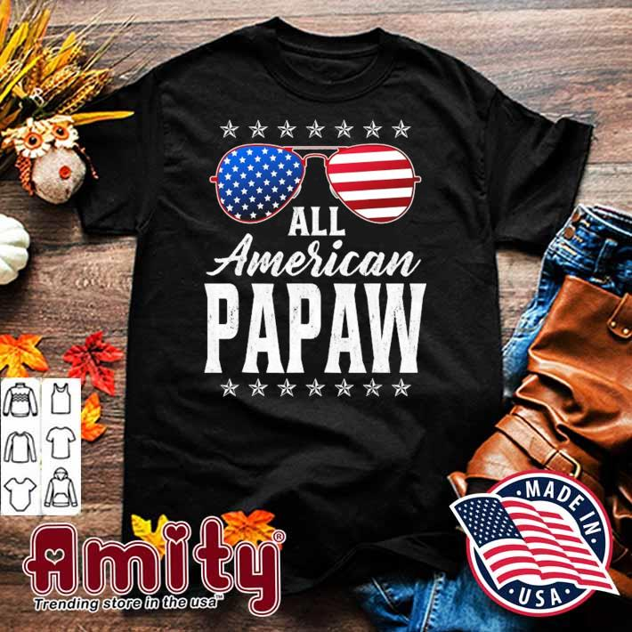 Mens all American papaw 4th of july fathers day papaw gift shirt