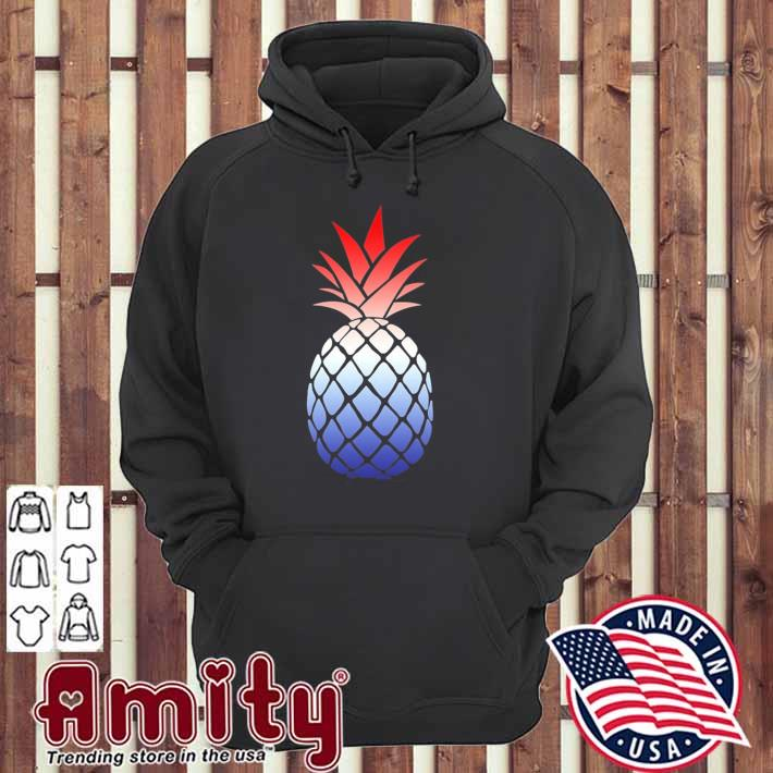 Ombre pineapple red white and blue 4th of july hoodie