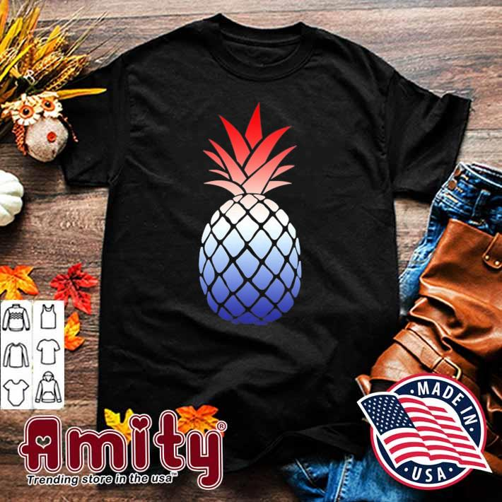 Ombre pineapple red white and blue 4th of july shirt